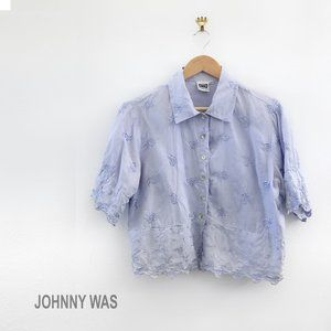 JOHNNY WAS Vintage Light Blue Button Down Shirt XS